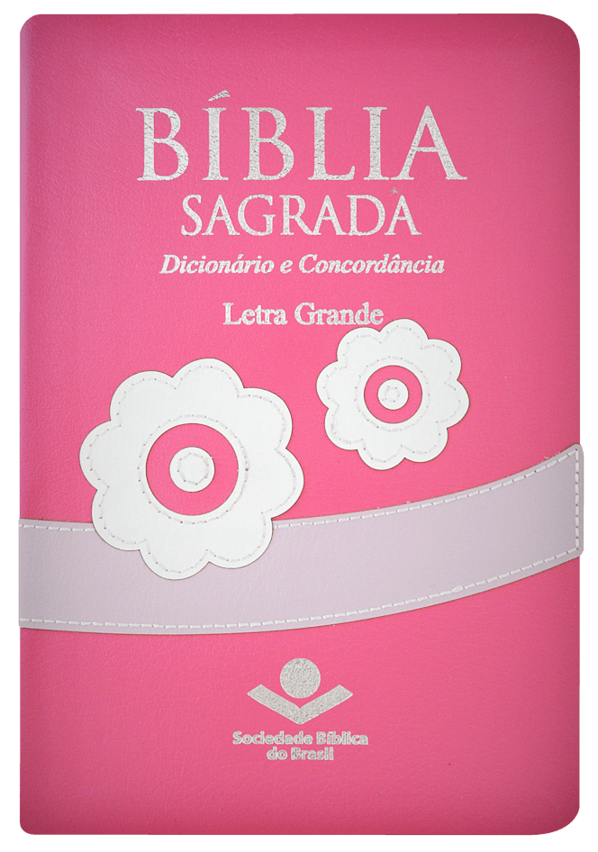Biblia Sagrada Letra Grande Capa Rosa Flores Saraiva