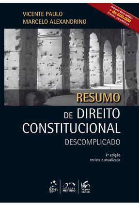 Usado - Resumo de Direito Constitucional Descomplicado - 7ª Ed. 2013 - Paulo,Vicente Alexandrino,Marcelo | Nisrs.org