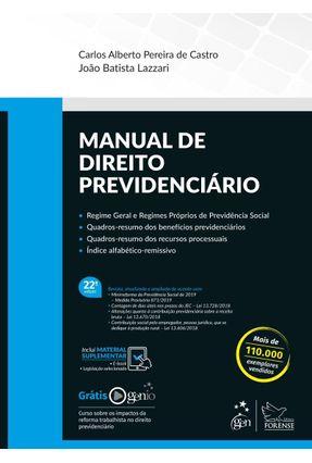 Manual De Direito Previdenciário - 22ª Ed. 2019 - Lazzari,João Batista Pereira de Castro,Carlos Alberto pdf epub