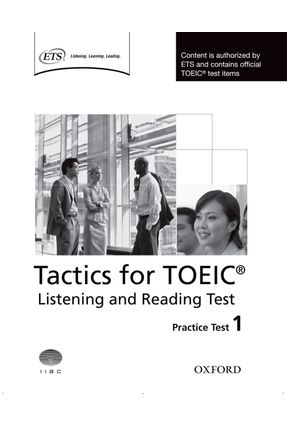 Tactics For TOEIC Listening And Reading Practice Test 1 - Editora Oxford   Tagrny.org