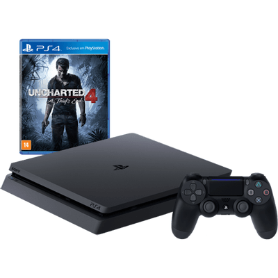 Reembalado - Console Playstation 4 Slim - HD 500 Gb + Jogo Uncharted 4 - Oficial Sony Brasil - PS4