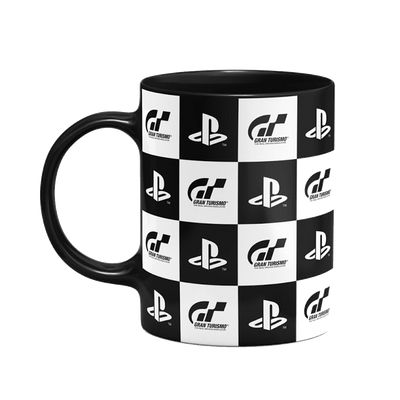 Caneca Playstation Gran Turismo Check Flag Cor Preto 325 ml Licenciado Sony