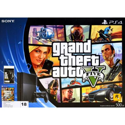 Reembalado - Console PS4 500 Gb + 2 Jogos - GTA V, The Last Of Us (Download) + Controle Dualshock 4