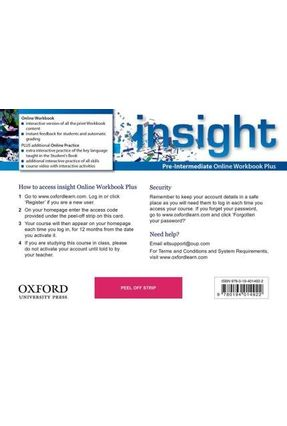 Insight - Pre-Intermediate - Online Workbook Plus Card With Access Code - Oxford | Hoshan.org
