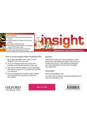 Insight - Elementary - Online Workbook Plus Card With Access Code - Oxford pdf epub