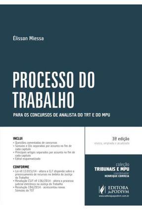 Edição antiga - Processo do Trabalho - Para Analista - Col. Tribun - Miessa,Élisson | Hoshan.org