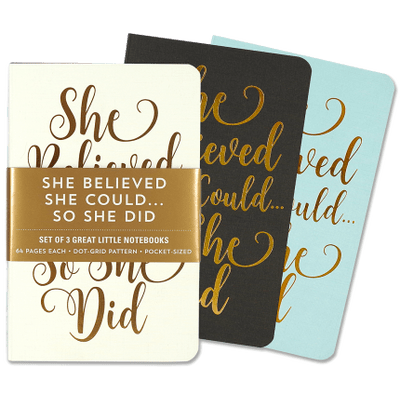 Jotter Set Of 3 Great Little Notebooks - Pater Pauper 8,9X14x1,2 - She Believe She Could, So She Did