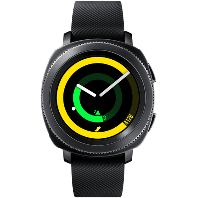 "Smartwatch Samsung Gear Sport Preto Tela 1.2"" Curved Super Amoled 4Gb"