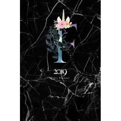 2019 Diary Planner - January To December 2019 Diary Planner Colorful Unicorn Horn & Flowers Monogram With Initial