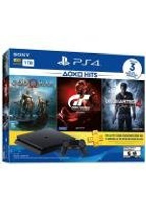 Console Playstation 4 Slim 1TB Bundle God Of War, Gran Turismo Sport e Uncharted 4