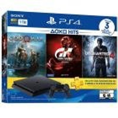 Console Playstation 4 Slim 1TB Bundle God Of War, Gran Turismo Sport e Uncharted 4
