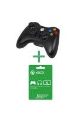 Xbox 360 - Controle Wireless Preto + Live Gold 3 Meses - Microsoft