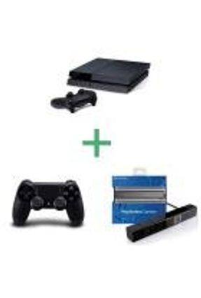 PS4 - Console Playstation 4 Preto com 2 Controles + PS Camera - Sony