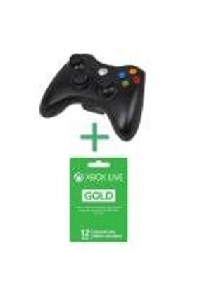 Xbox 360 - Controle Wireless Preto + Live Gold 12 Meses - Microsoft