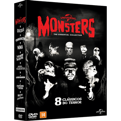 DVD Monsters - 8 Clássicos do Terror - The Essential Collection - 8 Discos