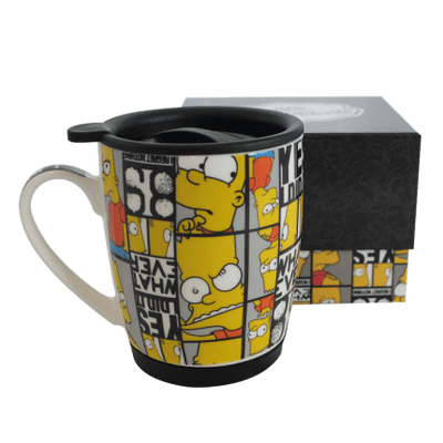 Caneca Com Tampa e Base De Silicone Simpsons Bart Careta 350Ml