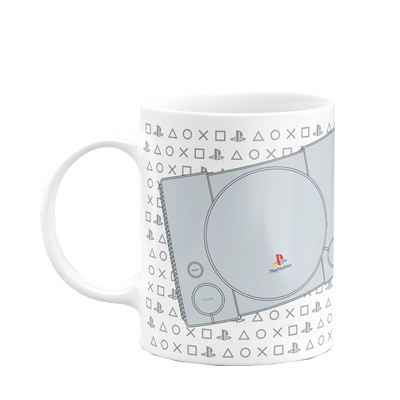 Caneca Playstation Ps1 Play Classic Cor Branco 325 ml Licenciado Sony