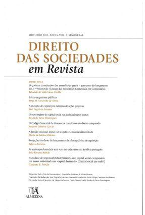 Direito Das Sociedades Em Revista - Ano 3 (Outubro 2011 ) Volume 6 - Pedro Pais de Vasconcelos Jorge Manuel Coutinho de Abreu Rui Pinto Duarte | Hoshan.org