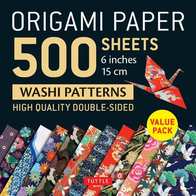"Origami Paper 500 Sheets Japanese Washi Patterns 6"" (15 CM) - High-Quality Double-Sided Origami Sheets Printed With 12 D"