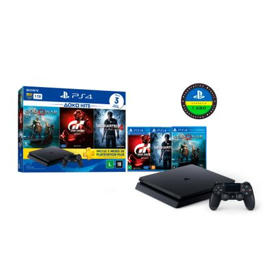 Playstation 4 Slim 1TB Bundle (God of War, Uncharted 4, Gran Turismo Sport)