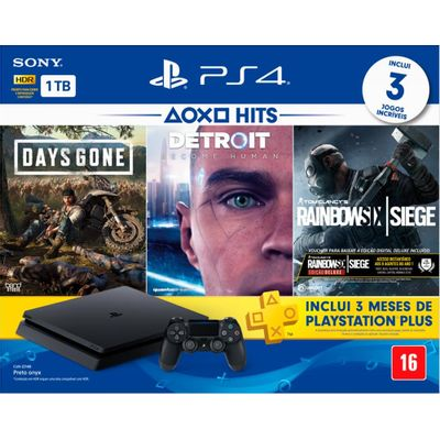 Playstation 4 Slim 1TB com 3 Jogos e 3 meses PS Plus