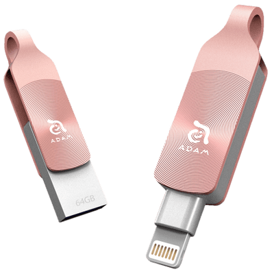 Pen Drive 64Gb Adam Elements Iklips Duo Ouro Rosa Para iPhone