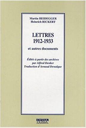 Lettres 1912-1933 Et Autres Documents - Rickert,H.   Hoshan.org