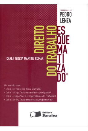 Usado - Direito do Trabalho Esquematizado - Romar,Carla Teresa Martins Lenza,Pedro pdf epub