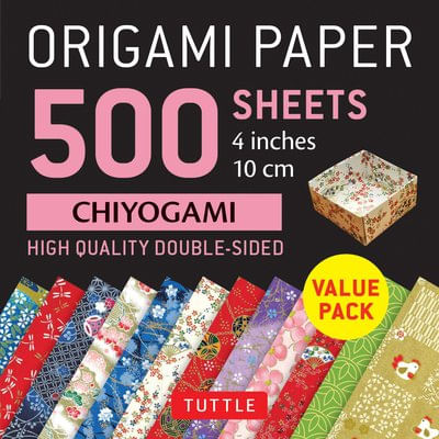 "Origami Paper 500 Sheets Chiyogami Patterns 4"" (10 CM) - High-Quality Double-Sided Origami Sheets Printed With 12 Differ"