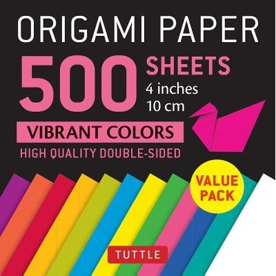 "Origami Paper 500 Sheets Vibrant Colors 4"" (10 CM) - Tuttle Origami Paper: High-Quality Double-Sided Origami Sheets Prin"
