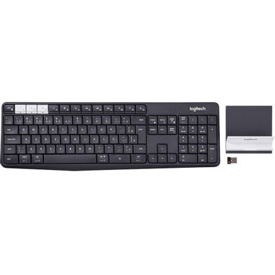 Teclado Sem Fio Logitech K375s, Bluetooth, Multi-Device, Unifying, ABNT2, Cinza + Suporte Universal