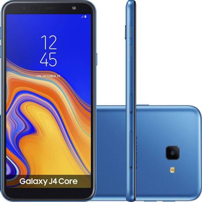 Smartphone Samsung Galaxy J4 Core 16GB Azul - Dual Chip 4G - Quad Core 1GB RAM Tela 6'' - Câm. 8MP + Selfie 5MP