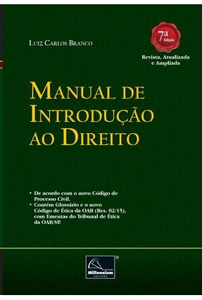 Manual de Introdução ao Direito - 7ª Ed. 2017 - Branco,Luiz Carlos | Tagrny.org